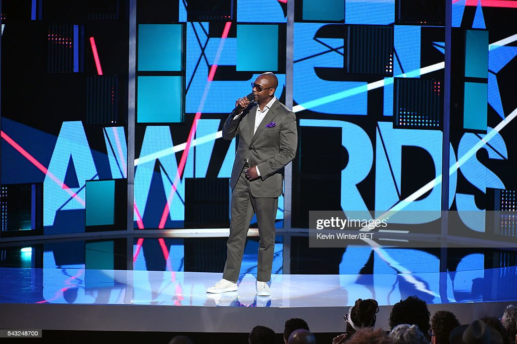 Comedian <a gi-track='captionPersonalityLinkClicked' href=/galleries/search?phrase=Dave+Chappelle&family=editorial&specificpeople=214548 ng-click='$event.stopPropagation()'>Dave Chappelle</a> speaks onstage during the 2016 BET Awards at the Microsoft Theater on June 26, 2016 in Los Angeles, California.