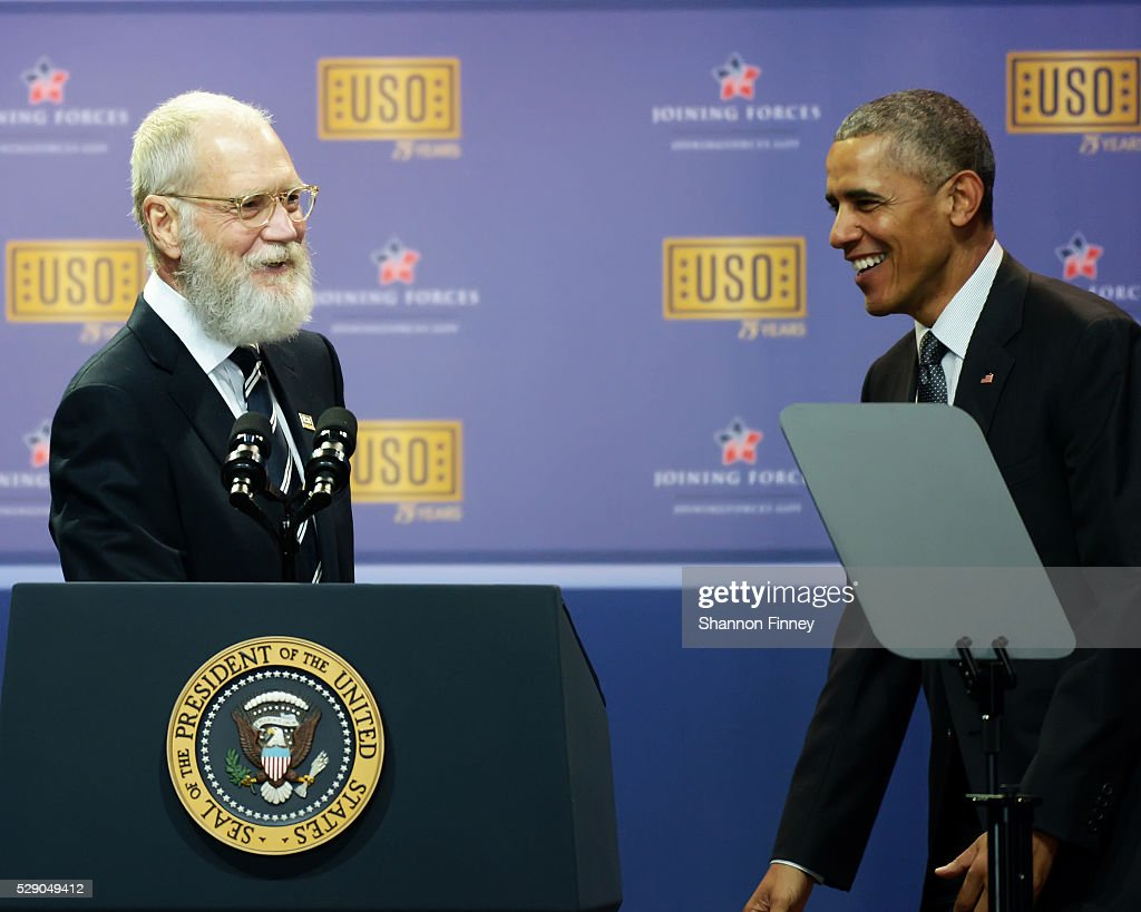 Comedian David Letterman joins the President in singing 'Happy Birthday' to the USO at the 75th Anniversary USO Show on May 5 2016 at Joint Base...