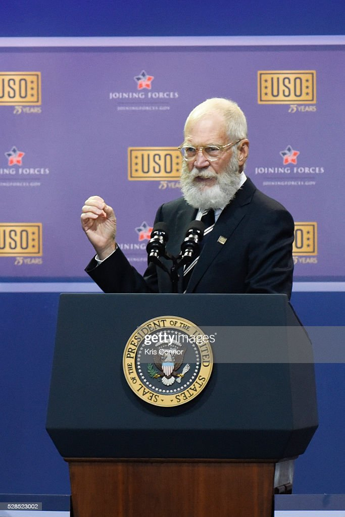 Comedian David Letterman speak during the 75th Anniversary USO Show at Joint Base Andrews on May 5, 2016 in Camp Springs, Md.