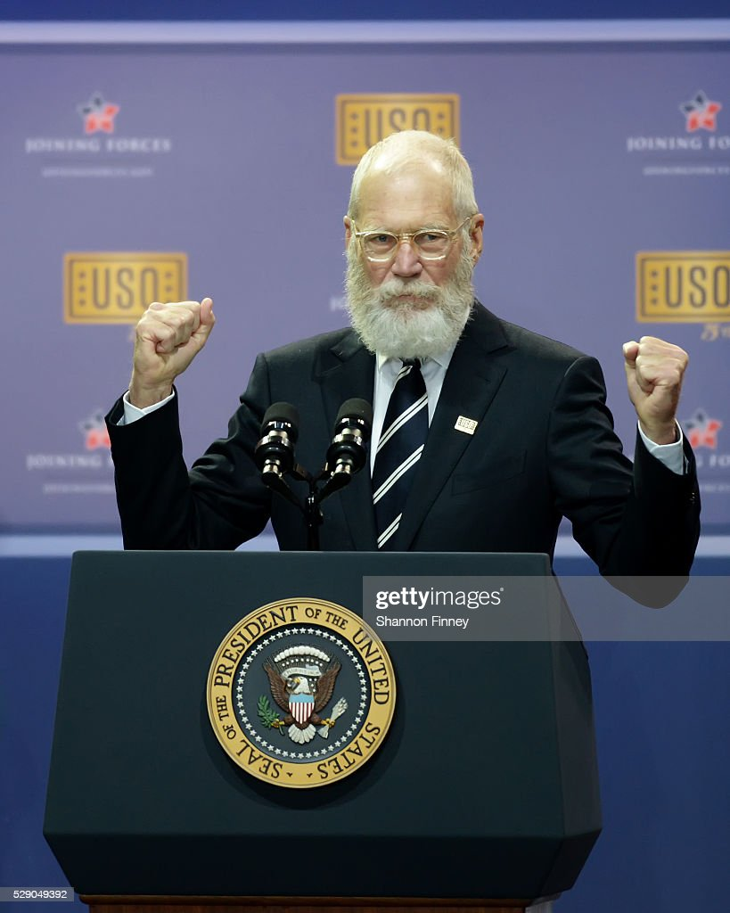 Comedian David Letterman surprises the Obamas at the 75th Anniversary USO Show on May 5 2016 at Joint Base Andrews in Camp Springs Maryland