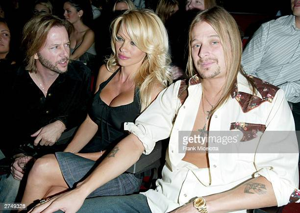 Comedian David Spade actress Pamela Anderson and musician Kid Rock watch the show at VH1's Big In 2003 Awards on November 20 2003 at Universal City...