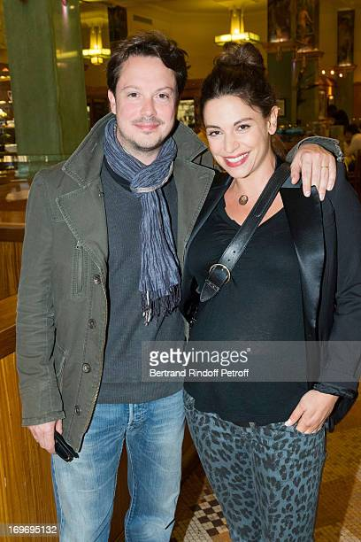 Comedian Davy Sardou with his pregnant wife Noemie Elbaz 'L'Affrontement' Theater Play at Rive Gauche Theater on May 30 2013 in Paris France