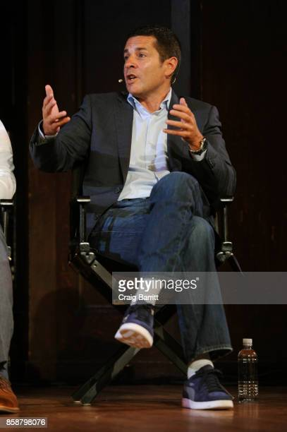 Comedian Dean Obeidallah speaks onstage during panel PTSD with Andy Borowitz and Friends at New York Society for Ethical Culture on October 7 2017 in...