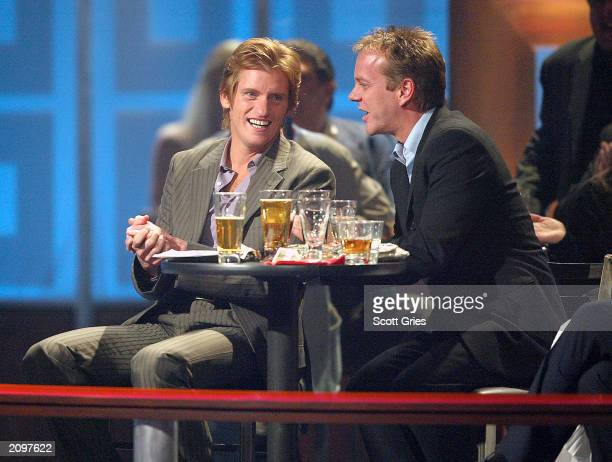 Comedian Denis Leary and actor Kiefer Sutherland attend the Comedy Central's 'The Roast of Denis Leary' at the Hammerstein Ballroom June 19 2003 in...