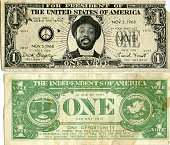 Comedian Dick Gregory appears on a fake 1 dollar bill in a mock advertising campaign for a presidential run