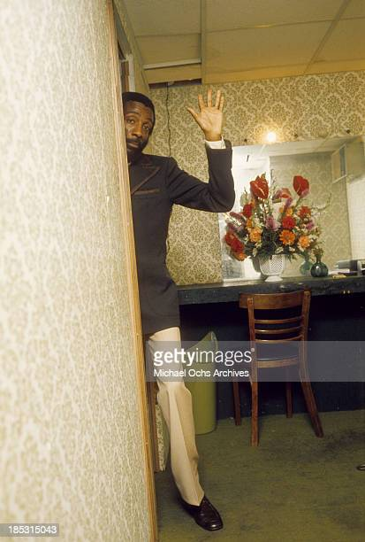 Comedian Dick Gregory backstage in circa 1975