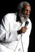 Comedian Dick Gregory performs at the 2008 Bermuda Music Festival at Bermuda National Stadium on October 4 2008 in Hamilton Bermuda