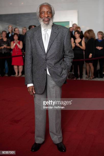 Comedian Dick Gregory poses for photographers at the 12th annual Mark Twain Prize for American Humor at the John F Kennedy Center on October 26 2009...