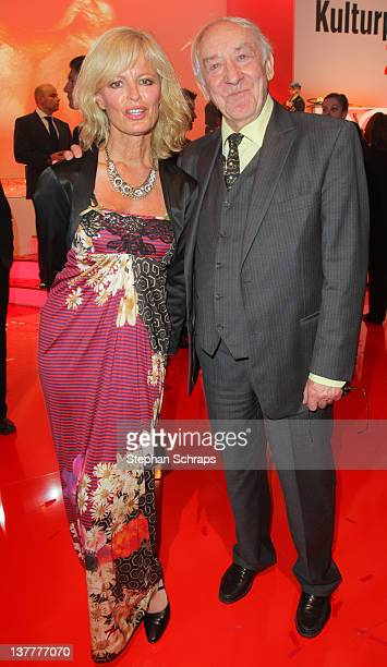 Comedian Dieter 'Didi' Hallervorden and Manager Claudia Neidig attend the award ceremony of the 'BZ Culture Awards' given in the AxelSpringer...