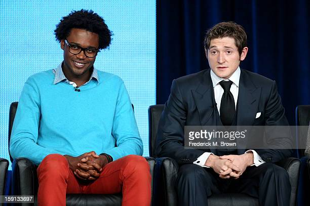Comedian Echo Kellum of 'Ben and Kate' and Comedian Lucas Neff of 'Raising Hope' speak onstage during the FOX portion of the 2013 Winter TCA Tour at...