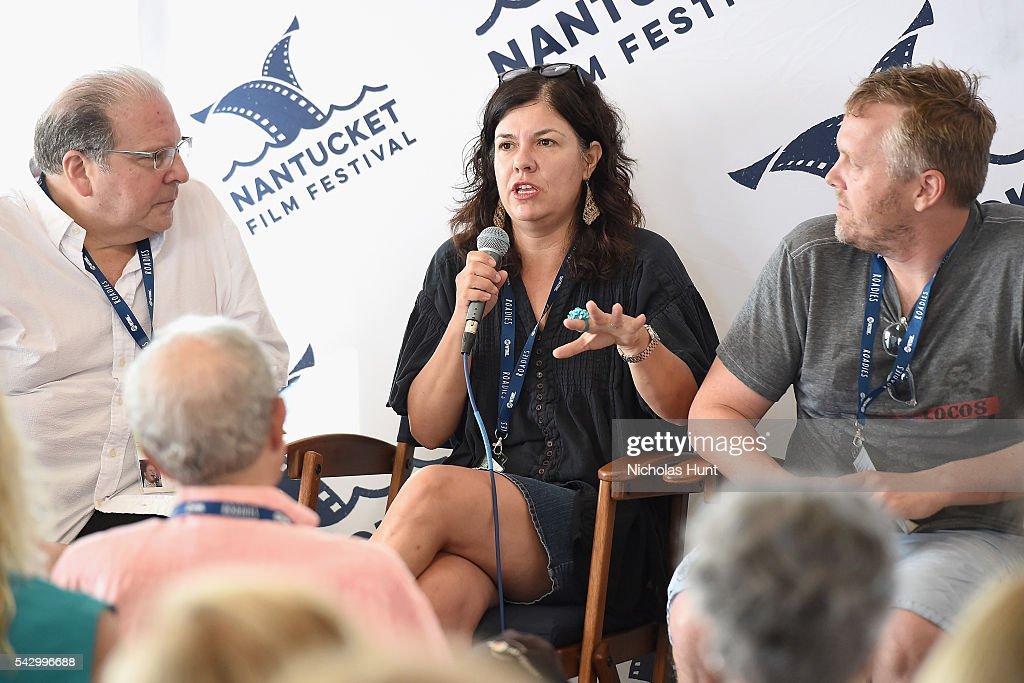 Comedian Eddie Brill, Screenwriter Annie J. Howell, and Screenwriter Nicholas Schutt speak during Morning Coffee at the 2016 Nantucket Film Festival Day 4 on June 25, 2016 in Nantucket, Massachusetts.