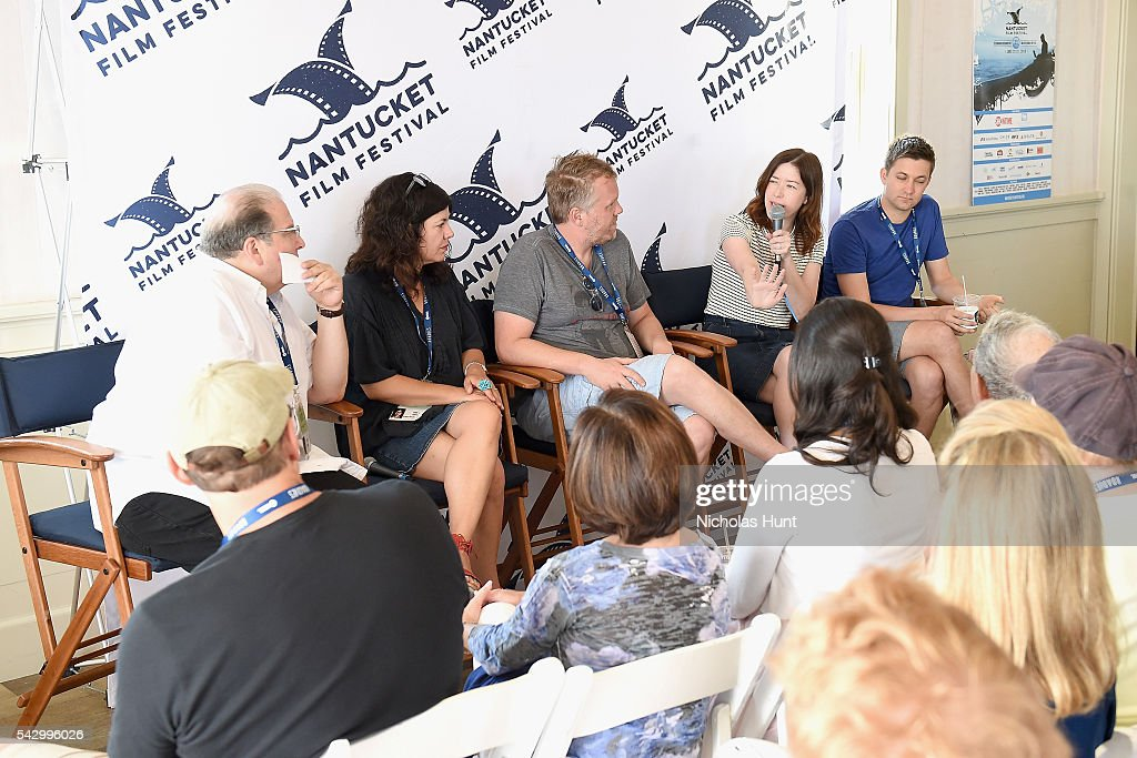 Comedian Eddie Brill, Screenwriter Annie J. Howell, Screenwriter Nicholas Schutt, Screenwriter/Director Julia Hart, and Screenwriter/Director Christopher Kelly speak during Morning Coffee at the 2016 Nantucket Film Festival Day 4 on June 25, 2016 in Nantucket, Massachusetts.