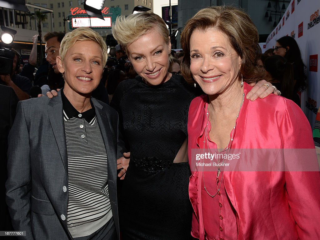 Comedian Ellen Degeneres, actress Portia De Rossi and actress Jessica Walter arrive at the Los Angeles Premiere of Season 4 of Netflix's 'Arrested Development' at the TCL Chinese Theatre on April 29, 2013 in Hollywood, California.