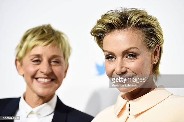 Comedian Ellen DeGeneres and actress Portia de Rossi arrive at the #TGIT Premiere Event hosted by Twitter at Palihouse Holloway on September 20 2014...