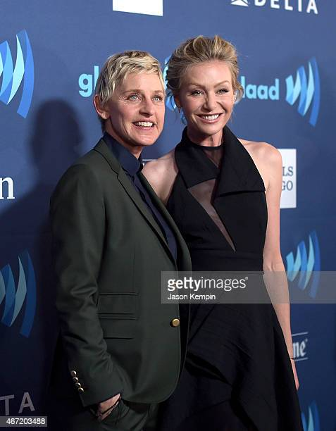 Comedian Ellen DeGeneres and wife Portia de Rossi attend the 26th Annual GLAAD Media Awards at The Beverly Hilton Hotel on March 21 2015 in Beverly...