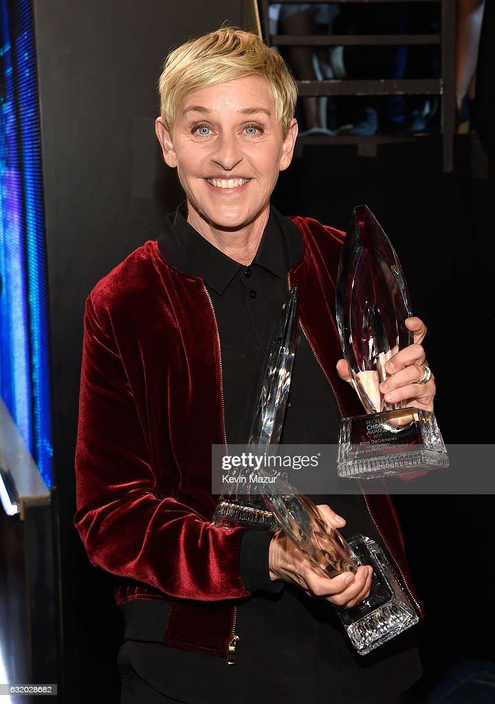Comedian Ellen DeGeneres backstage at the People's Choice Awards 2017 at Microsoft Theater on January 18, 2017 in Los Angeles, California.