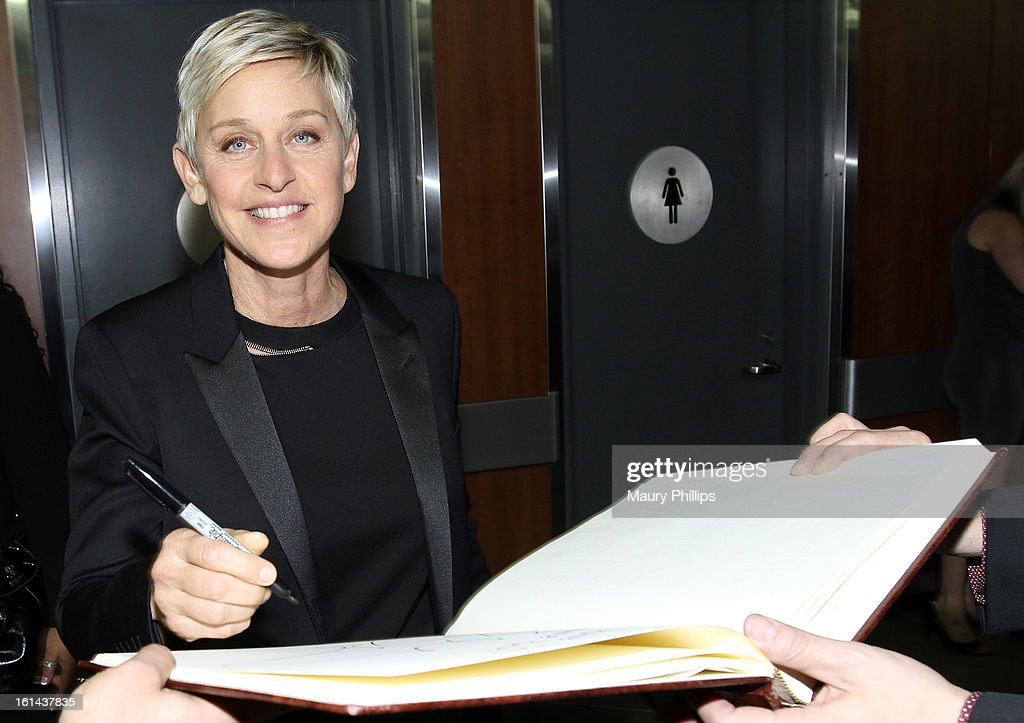 Comedian <a gi-track='captionPersonalityLinkClicked' href=/galleries/search?phrase=Ellen+DeGeneres&family=editorial&specificpeople=171367 ng-click='$event.stopPropagation()'>Ellen DeGeneres</a> poses at the GRAMMY Charities Signing Booth during the 55th Annual GRAMMY Awards at STAPLES Center on February 10, 2013 in Los Angeles, California.