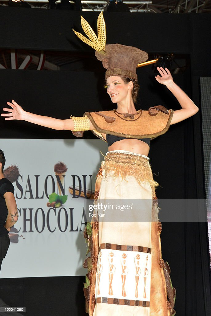 Comedian Elodie Varlet dressed by Daouda Sonko and Vincent Chevallier walks the runway during the Salon du Chocolat 2012 Opening Night at Parc des Expositions Porte de Versailles on October 30, 2012 in Paris, France.