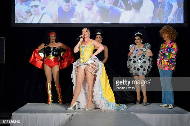 Comedian 'Em' Rusciano speaks to the media with Drag queen 'Destiny Haz Arrived' Performance DJ and Entertainer Victoria Anthony Drag Queen Hannah...
