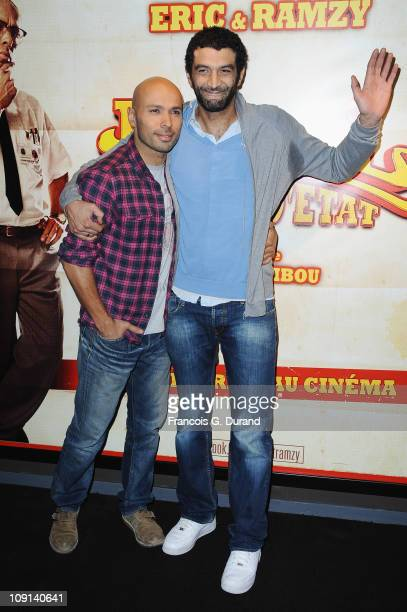 Comedian Eric Judor and Ramzy Bedia attend the 'Halal Police D'Etat' Paris Premiere at UGC Cine Cite Bercy on February 15 2011 in Paris France