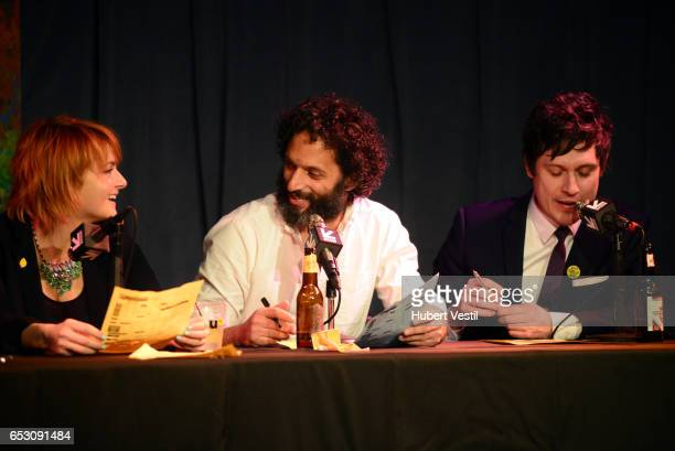 Comedian Erin McGathy actor/comedian Jason Mantzoukas and actor/comedian Jeff B Davis perform onstage at HarmonQuest during 2017 SXSW Conference and...