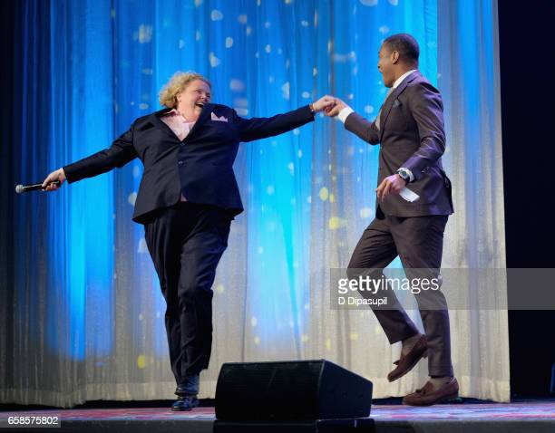 Comedian Fortune Feimster and Media Presenter Don Lemon perform on stage during the ninth annual PFLAG National Straight for Equality Awards Gala on...