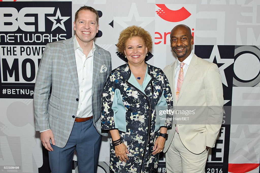 Comedian Gary Owen BET Chairman and CEO Debra L Lee and BET Programming President Stephen Hill attend the BET Upfront on April 18 2016 in Chicago...