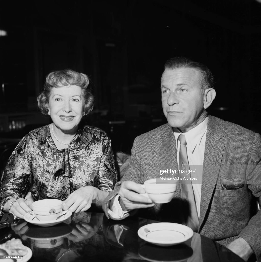 Comedian George Burns with wife Gracie Allen attend 20th Century Fox party in Los Angeles California