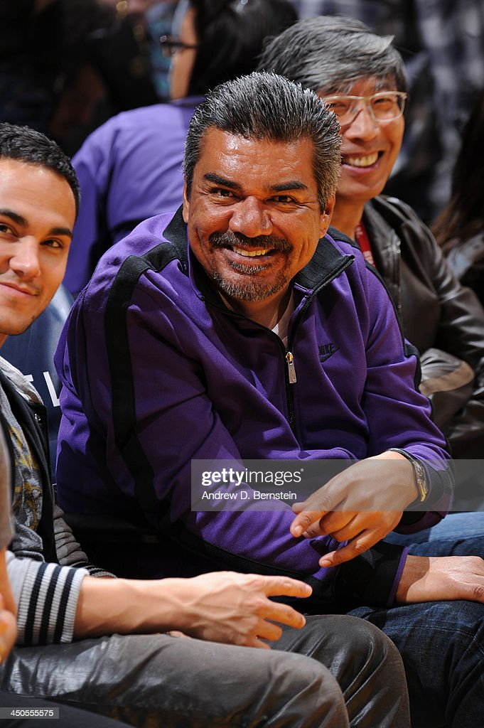 Comedian <a gi-track='captionPersonalityLinkClicked' href=/galleries/search?phrase=George+Lopez&family=editorial&specificpeople=202546 ng-click='$event.stopPropagation()'>George Lopez</a> poses for a photograph during a game between the Detroit Pistons and the Los Angeles Lakers at Staples Center on November 17, 2013 in Los Angeles, California.