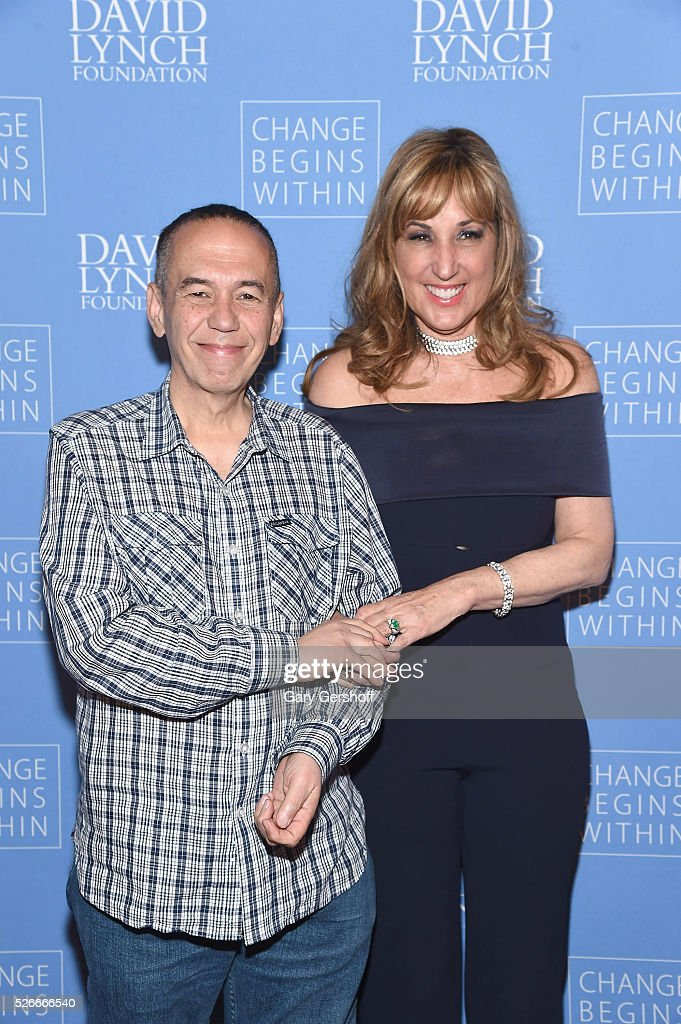 Comedian Gilbert Gottfried (L) and Board Member, David Lynch Foundation, Joanna Plafsky attends 'An Amazing Night of Comedy: A David Lynch Foundation Benefit for Veterans with PTSD' on April 30, 2016 in New York City.