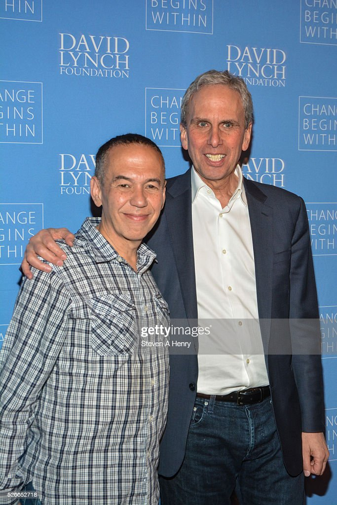Comedian Gilbert Gottfried and Executive Director of the David Lynch Foundation Bob Roth attend 'An Amazing Night Of Comedy: A David Lynch Foundation Benefit For Veterans With PTSD' at New York City Center on April 30, 2016 in New York City.