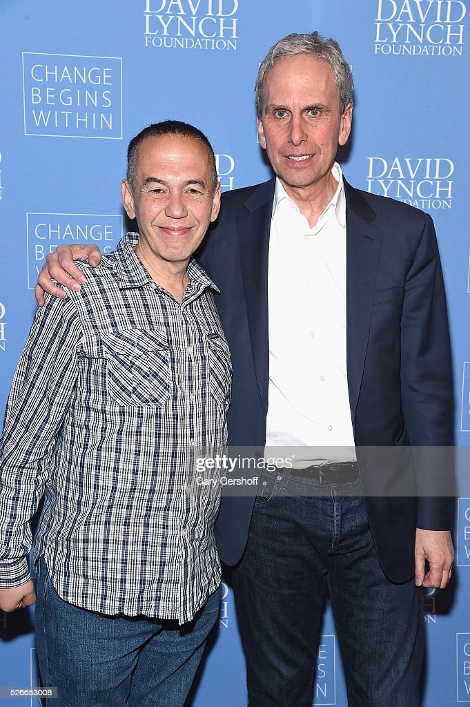 Comedian Gilbert Gottfried (L) and Executive Director of The David Lynch Foundation, Bob Roth attend 'An Amazing Night of Comedy: A David Lynch Foundation Benefit for Veterans with PTSD' on April 30, 2016 in New York City.