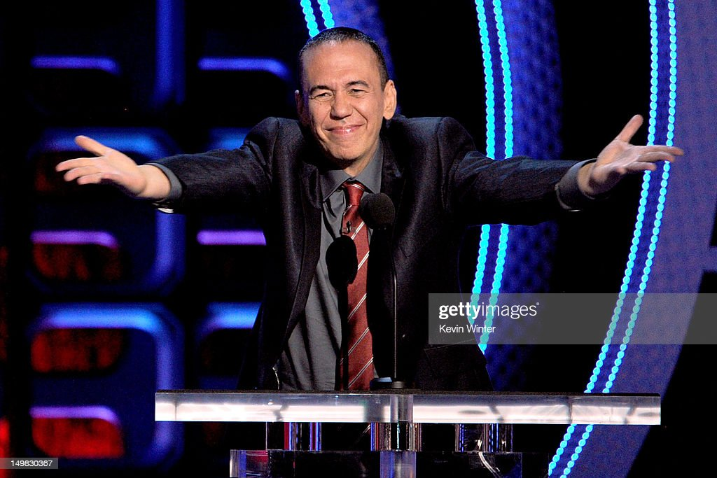 Comedian <a gi-track='captionPersonalityLinkClicked' href=/galleries/search?phrase=Gilbert+Gottfried&family=editorial&specificpeople=214732 ng-click='$event.stopPropagation()'>Gilbert Gottfried</a> speaks onstage during the Comedy Central Roast of Roseanne Barr at Hollywood Palladium on August 4, 2012 in Hollywood, California.