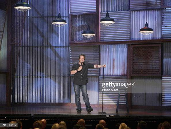 Comedian Greg Giraldo performs at the House of Blues inside the Mandalay Bay Resort Casino July 3 2005 in Las Vegas Nevada Comedy Central is shooting...