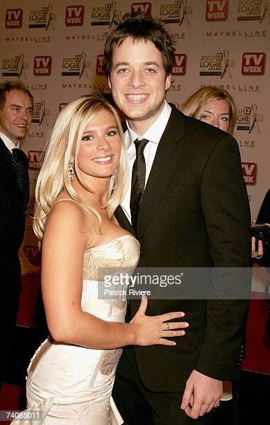 Comedian Hamish Blake and his girlfriend Anna JenningsEdquist arrive at the 2007 TV Week Logie Awards at the Crown Casino on May 6 2007 in Melbourne...