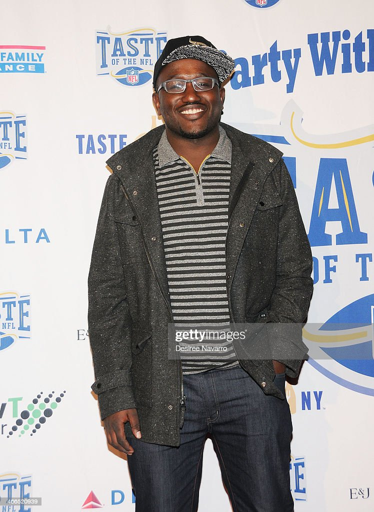 Comedian <a gi-track='captionPersonalityLinkClicked' href=/galleries/search?phrase=Hannibal+Buress&family=editorial&specificpeople=4517735 ng-click='$event.stopPropagation()'>Hannibal Buress</a> attends the 23rd Annual Super Bowl Party With A Purpose at Brooklyn Cruise Terminal on February 1, 2014 in New York City.