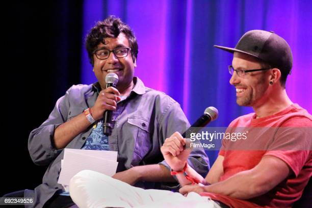 Comedian Hari Kondabolu and journalist Shane Bauer speak onstage at the Larkin Comedy Club during Colossal Clusterfest at Civic Center Plaza and The...