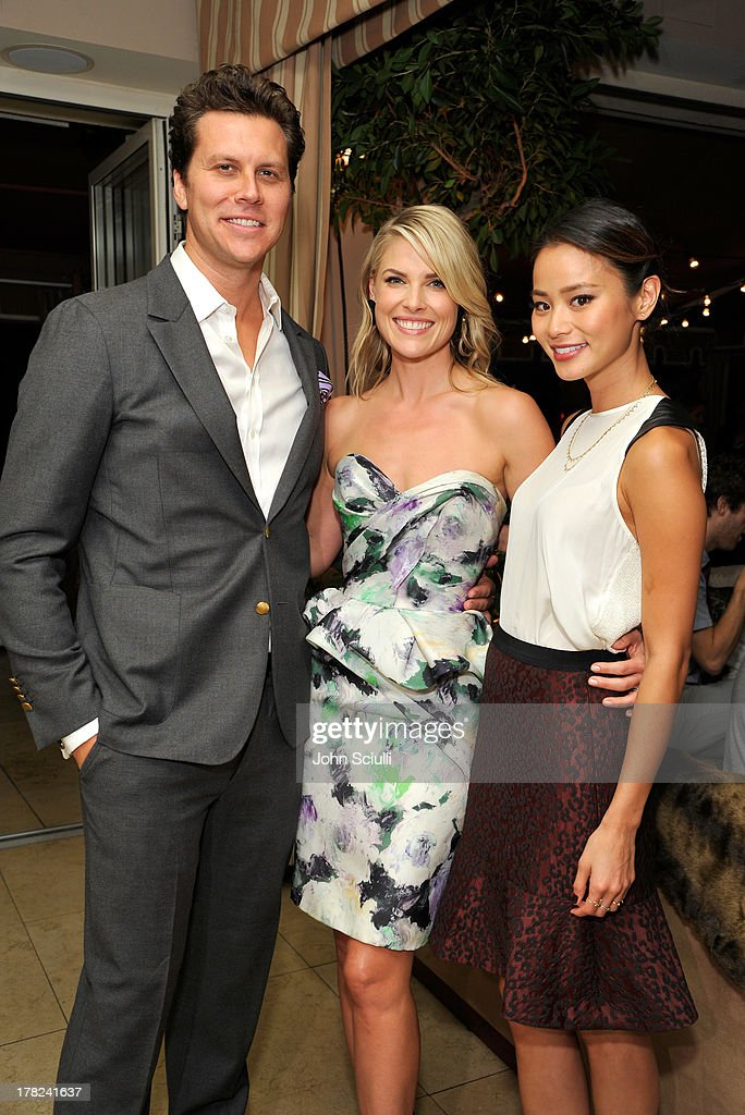 Comedian Hayes MacArthur, Ali Larter and actress Jamie Chung celebrate the release of Ali Larter's new cookbook 'Kitchen Revelry' with Perrier-Jouet at Sunset Tower on August 27, 2013 in West Hollywood, California.