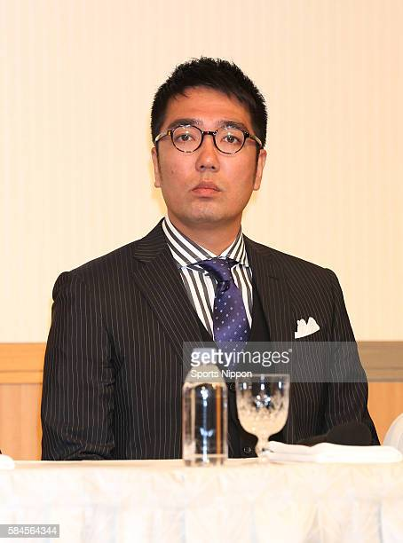 Comedian Hiroaki Ogi of Ogiyahagi attend the Fuji TV program press conference on March 20 2014 in Tokyo Japan