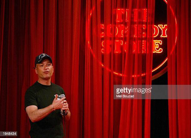 Comedian Howie Mandel performs on stage at the Comedy Store for a one night only stand up show on April 23 2003 in Hollywood California