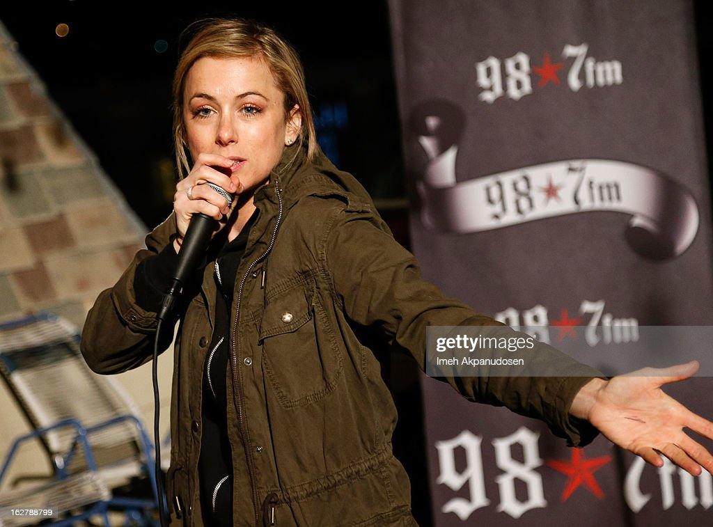 Comedian <a gi-track='captionPersonalityLinkClicked' href=/galleries/search?phrase=Iliza+Shlesinger&family=editorial&specificpeople=5630174 ng-click='$event.stopPropagation()'>Iliza Shlesinger</a> performs at 98.7 FM's Penthouse Party Pad at The Historic Hollywood Tower on February 26, 2013 in Hollywood, California.