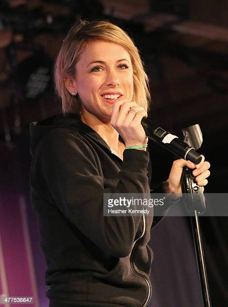 Comedian Iliza Shlesinger speaks onstage at Comedy Gives Back during the 2014 SXSW Music Film Interactive Festival at Brazos Hall on March 9 2014 in...