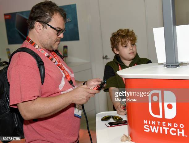 Comedian Jack Black visits the Nintendo booth at the 2017 E3 Gaming Convention at Los Angeles Convention Center on June 13 2017 in Los Angeles...