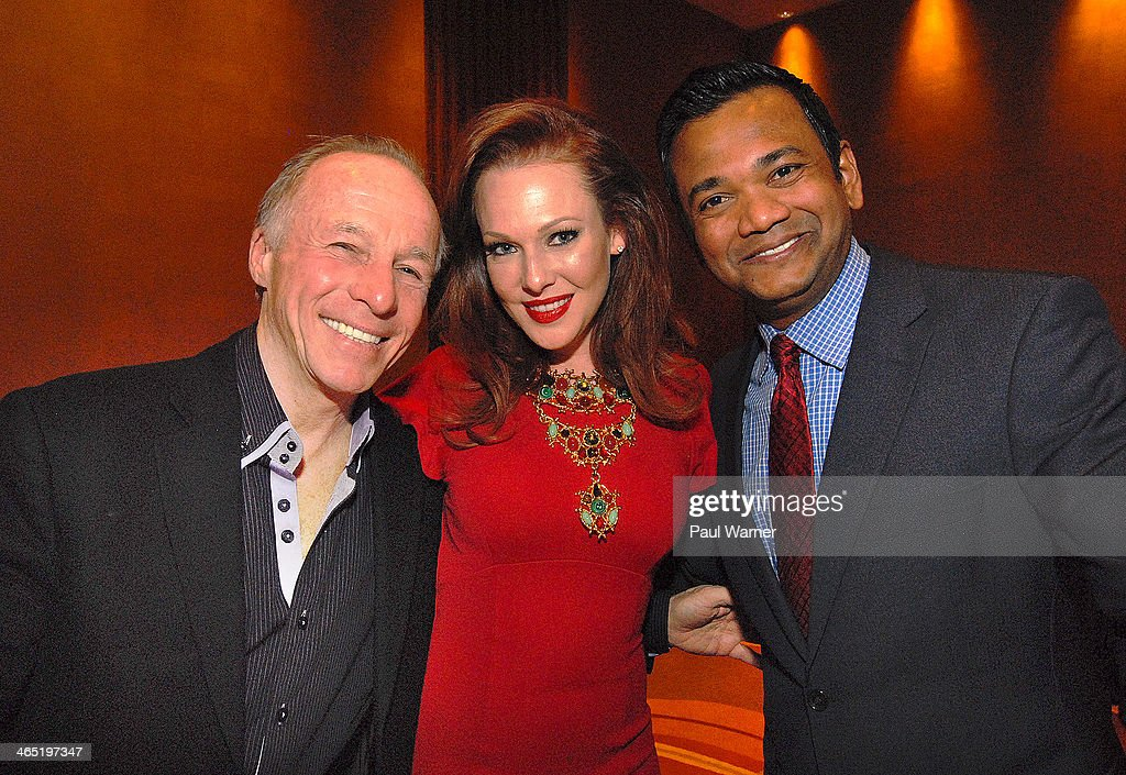 Comedian Jackie Martling, actor and Mittens for Detroit founder Erin Cummings and Fox News Detroit reporter Roop Raj attends Mittens for Detroit's 4th annual night of Giggles and Gloves at MGM Grand Hotel on January 25, 2014 in Detroit, Michigan.