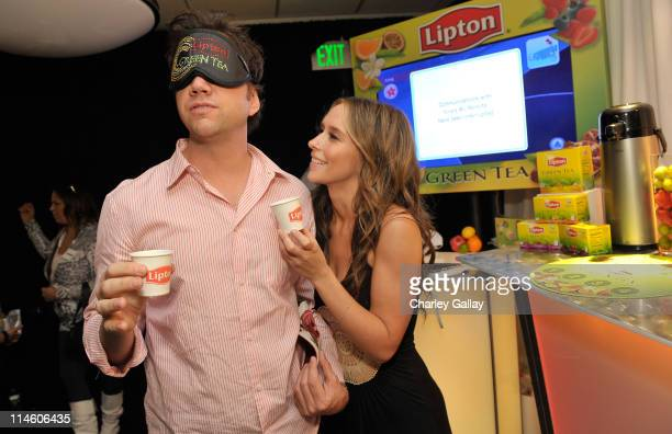 Comedian Jamie Kennedy and Actress Jennifer Love Hewitt with Lipton Green Tea at the The Lipton Green VitaliTEA Gift Lounge Backstage at the Nokia...