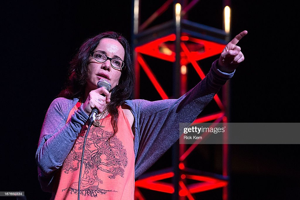Comedian <a gi-track='captionPersonalityLinkClicked' href=/galleries/search?phrase=Janeane+Garofalo&family=editorial&specificpeople=213567 ng-click='$event.stopPropagation()'>Janeane Garofalo</a> performs on stage during the Moontower Comedy Festival at the Paramount Theatre on April 26, 2013 in Austin, Texas.
