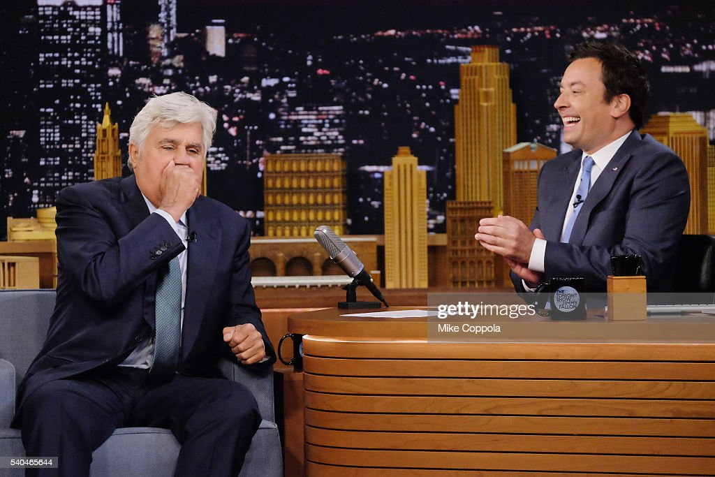 Comedian Jay Leno answers questions from host Jimmy Fallon as he visits 'The Tonight Show Starring Jimmy Fallon' at Rockefeller Center on June 15...