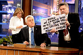 Comedian Jay Leno appears onstage during a commercial break on the final episode of 'The Tonight Show with Jay Leno' at The Burbank Studios on...