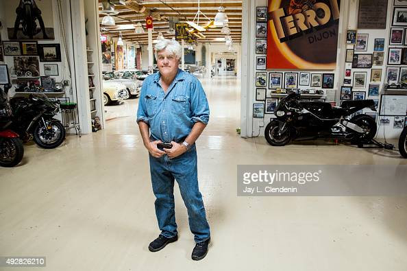 Comedian Jay Leno is photographed in his Big Dog Garage which houses his extensive and historical collection of cars and motorcycles for Los Angeles...