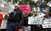 Comedian Jay Leno participates in a rally to protest draconian punishment of women and gay people announced by the Sultan of Brunei outside the...